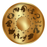 Zodiac signs on a gold disk Stock Images