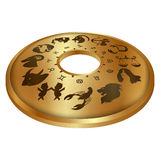 Zodiac signs on a gold disk. Vector illustration of a gold disc with zodiac signs isolated object in the projection and 3D perspective royalty free illustration