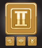 Zodiac signs. Golden icons of Zodiac signs - Gemini, Cancer, Taurus, Aries Stock Images