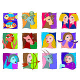 Zodiac signs. Horoscope icons in white background Royalty Free Stock Photos