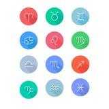 Zodiac signs horoscope symbols flat icons set. vector illustration