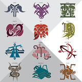 Zodiac 12 signs. Icon symbols royalty free illustration