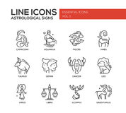 Zodiac signs icons set. Set of modern vector plain line design icons and pictograms of 12 zodiac signs. Capricorn, aquarius, pisces, aries, taurus, gemini royalty free illustration