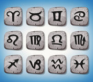Zodiac Signs And Icons Set On Rocks Royalty Free Stock Image