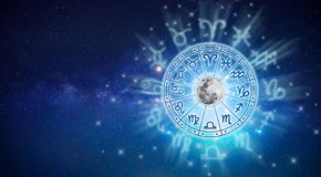 Free Zodiac Signs Inside Of Horoscope Circle. Astrology In The Sky With Many Stars And Moons  Astrology And Horoscopes Concept Stock Photo - 166410010