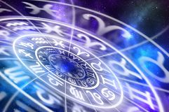 Free Zodiac Signs Inside Of Horoscope Circle On Universe Background Stock Photography - 136056182