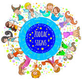 Zodiac signs kids round board Stock Images