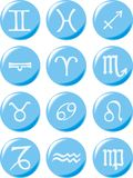 Zodiac signs on light blue buttons Stock Photography