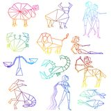 Zodiac signs line art Stock Images