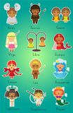 12 zodiac signs for little girls royalty free illustration