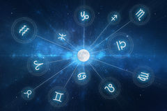 Zodiac Signs Horoscope. Zodiac Signs - New age horoscope with stars and arcane elements Royalty Free Stock Photography