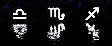12 zodiac signs over water horoscope set Royalty Free Stock Image