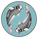 Zodiac signs - Pisces. Decorative ornament of the zodiac sign Pisces Royalty Free Stock Image