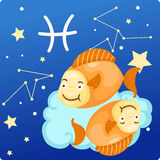 Zodiac signs - Pisces. Illustration zodiac signs - pisces Royalty Free Stock Photo