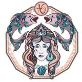 Zodiac signs Pisces. Vector illustration of the girl Royalty Free Stock Image