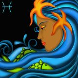 Zodiac signs - Pisces. Zodiac signs with women's faces- Pisces Royalty Free Stock Photography