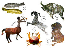 Zodiac signs of polygons Stock Photo