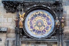 The zodiac signs on the Prague medieval astronomical clock. The famous Prague medieval astronomical clock. Front view Royalty Free Stock Image