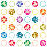 Zodiac signs retro pattern Stock Images