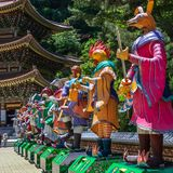 Zodiac Signs: A row of Statue. Paper lantern of astrological sign in a buddhist temple in South Korea. Guinsa, Danyang Region,. Guinsa Temple, located below stock image