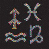 Zodiac signs Sagittarius, Capricorn, Aquarius, Pisces. Hand drawn horoscope symbols. Astrology vector illustration. Zodiac signs Sagittarius, Capricorn Stock Photography