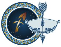 Zodiac signs - Sagittarius. The Horoscope circle with zodiac signs Sagittarius Stock Image
