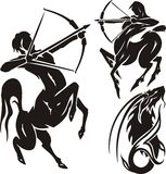 Zodiac Signs - sagittarius. Vector set. Royalty Free Stock Images