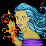 Zodiac signs - Sagittarius. Zodiac signs with women's faces- Sagittarius Stock Photo