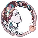 Zodiac signs Scorpio. Vector illustration of the girl Royalty Free Stock Image