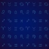 Zodiac signs seamless pattern Royalty Free Stock Photography