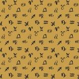 Zodiac signs seamless pattern. Hand drawn horoscope astrology symbols, grunge textured design, typography print, vector royalty free illustration