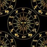 Zodiac signs seamless pattern Stock Photos