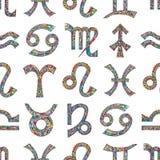 Zodiac signs seamless pattern. Horoscope magic symbols background.. Zodiac signs seamless pattern. Horoscope magic symbols colorful background. Hand drawn Stock Image