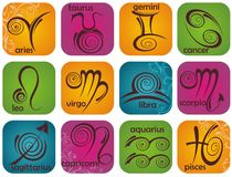 Zodiac signs set Royalty Free Stock Photography
