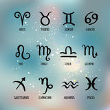 Zodiac signs. Set of simple zodiac with captions . Zodiac symbols Stock Images