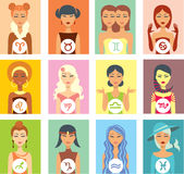Zodiac signs. Set of twelve female portraits as a zodiac signs Royalty Free Stock Image