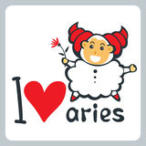 Zodiac signs-09. Zodiac sign Aries isolated on white background. Cartoon funny character. Design element for greeting cards or flyers royalty free illustration