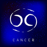 Zodiac signs-04. Zodiac sign Cancer  on white background. Design element for flyers or greeting cards. Grunge style Stock Photography