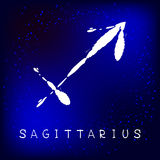 Zodiac signs-09. Zodiac sign Sagittarius on white background. Design element for flyers or greeting cards. Grunge style stock illustration