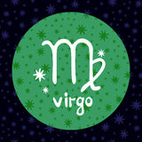 Zodiac signs-09. Zodiac sign Virgo isolated on dark background. Design element for flyers or greeting cards vector illustration