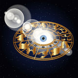Zodiac signs in the space around the eye Royalty Free Stock Image