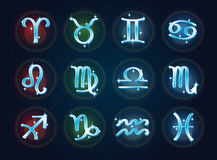 Zodiac signs on a space backdrop Royalty Free Stock Photo
