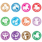 Zodiac signs stamps Stock Images