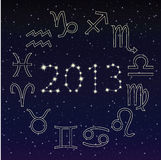 Zodiac signs in the starry sky, 2013 Stock Photos
