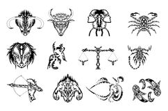 set of Zodiac signs tattoos in black stock illustration