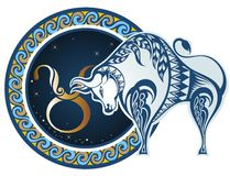Zodiac signs - Taurus. The Horoscope circle with zodiac signs Taurus royalty free illustration