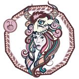 Zodiac signs Taurus. Vector illustration of the girl Royalty Free Stock Photo
