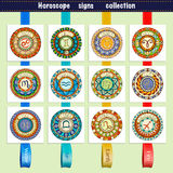 Zodiac signs theme. Set of mandalas with libra zodiac signs. Zentangle inspired mandalas. royalty free illustration