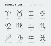 Zodiac signs. Thin line vector icons Stock Images