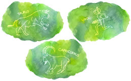 Zodiac Signs triplicity elements of Earth on watercolor background. Taurus, Virgo, Capricorn Royalty Free Stock Photo